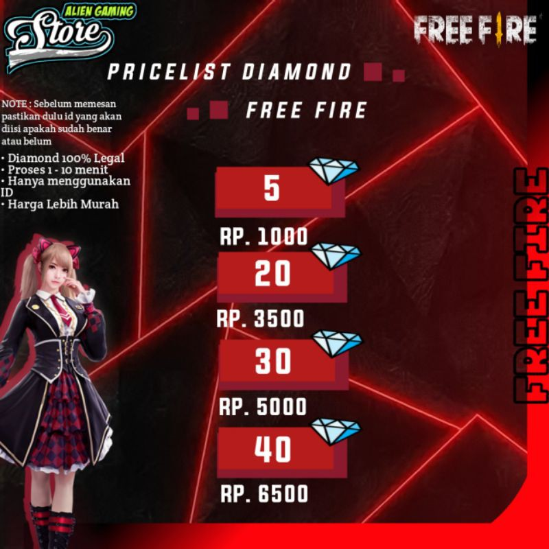 [PROMO] TOP UP DIAMOND FREE FIRE VIA ID - TOP UP FF MURAH - TOP UP DM FF - DM FF MURAH#PAKET SD