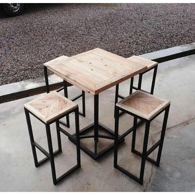 Meja Dan 4 Kursi Cafe Dari Kayu Pinus Shopee Indonesia