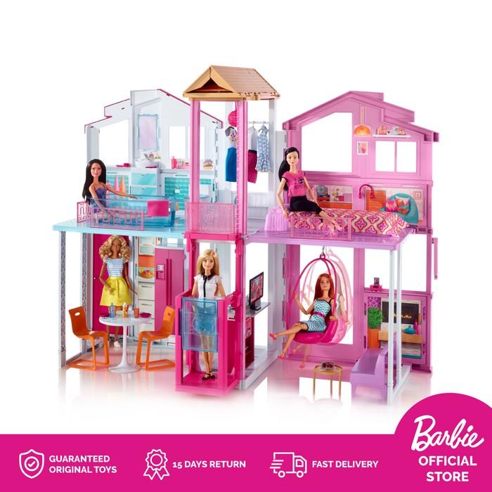 Barbie 3 Story Townhouse Rumah Boneka Mainan Anak Perempuan Shopee Indonesia