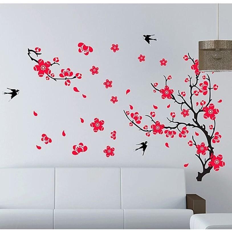 Reliza Wall Sticker Stiker Dinding 60x90 Bunga Sakura Merah