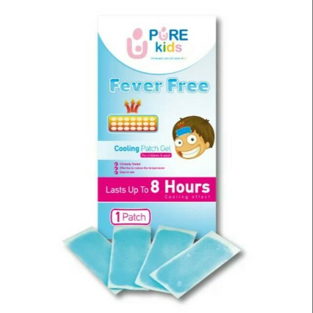 Pure kids fever free cooling patch gel kompres penurun panas anak isi 4   Shopee Indonesia