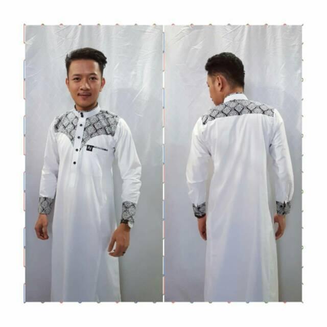 Gamis Aljar Kombinasi Putih Busana Muslim Pria Jubah Slim Aj Banjarmasin