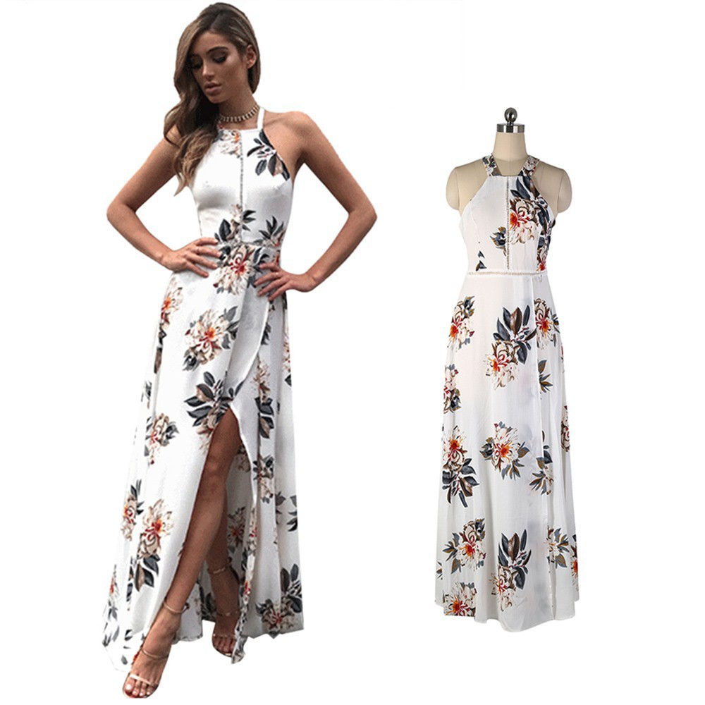 Boho Summer Chiffon Floral Evening Party Beach Maxi Dress | Shopee Indonesia