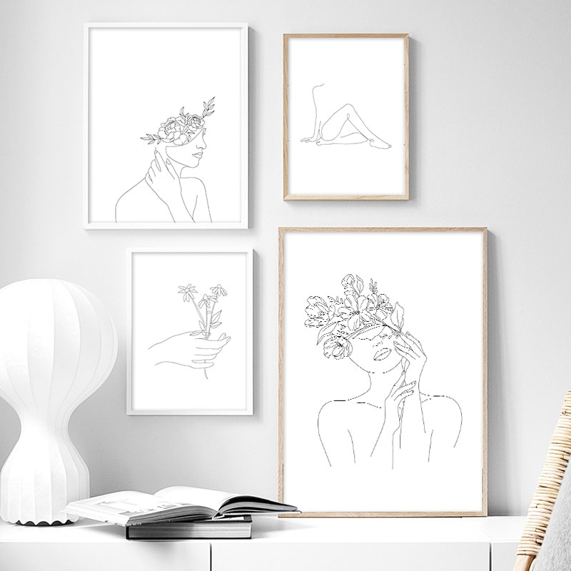 Line Drawing Poster Prints Black White Abstract Flower Woman Canvas Painting Wall Art Picture Home Decoration No Framed Shopee Indonesia