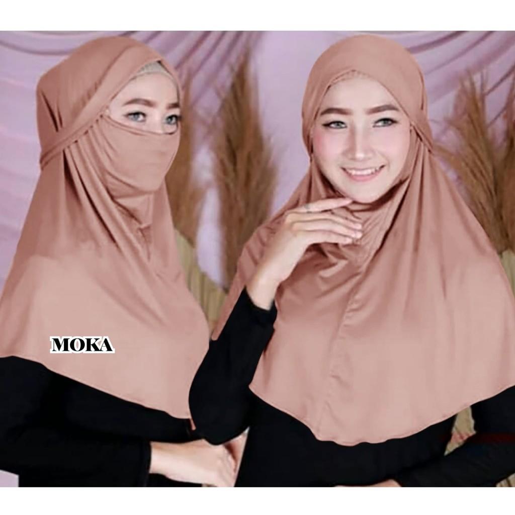 Hijab Instan 2in1 Niqab Jilbab Khimar Instant Jersey Bergo Masker Hijab Syari Multifungsi Shopee Indonesia