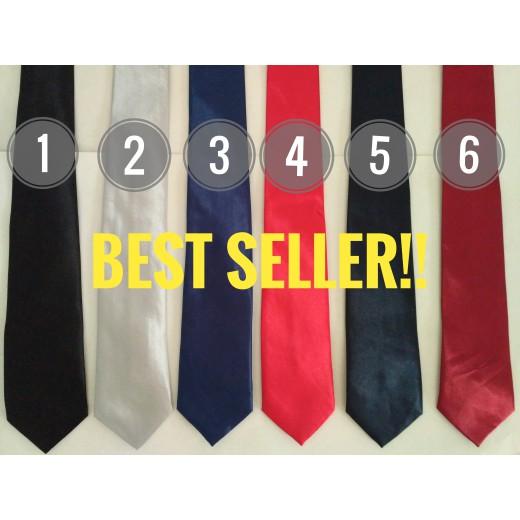 VM Dasi Kerja Polos Slim Merah hitam marun - Dasi seragam - dasi kantor | Shopee Indonesia