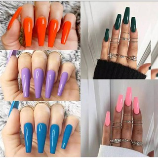 Fake Nails polos panjang Kuku palsu Fashion Kuku palsu cantik thumbnail