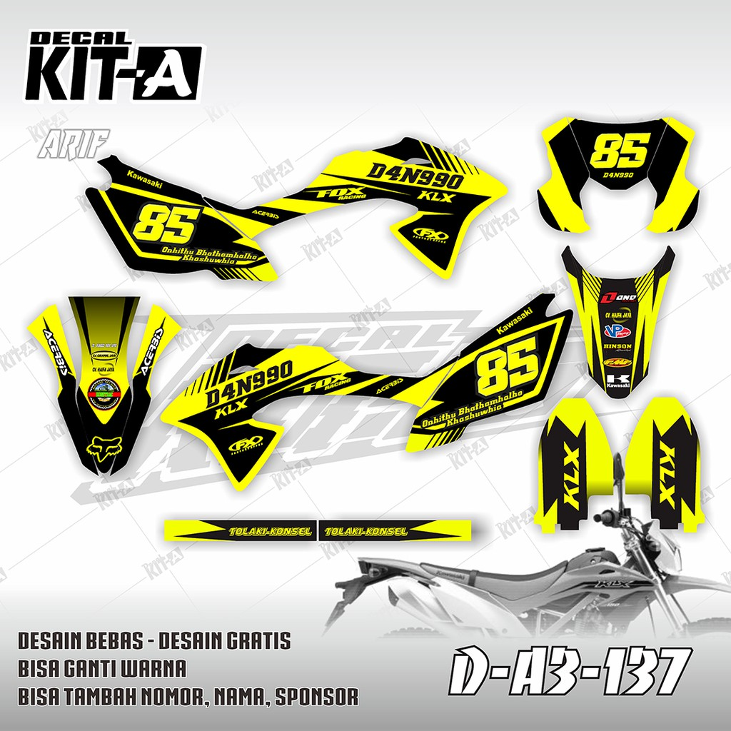 Decal stiker klx bf 150 dekal striping sticker new klx bf extreme 2018 a3 132 shopee indonesia