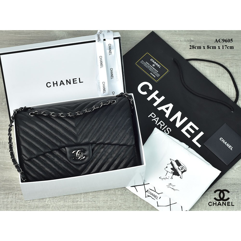 eb7bc04aaec5 TAS BRANDED IMPORT MURAH - Tas Chanel Boy Crossbody Chevron Lambskin HITAM  Seprem 6308 | Shopee Indonesia