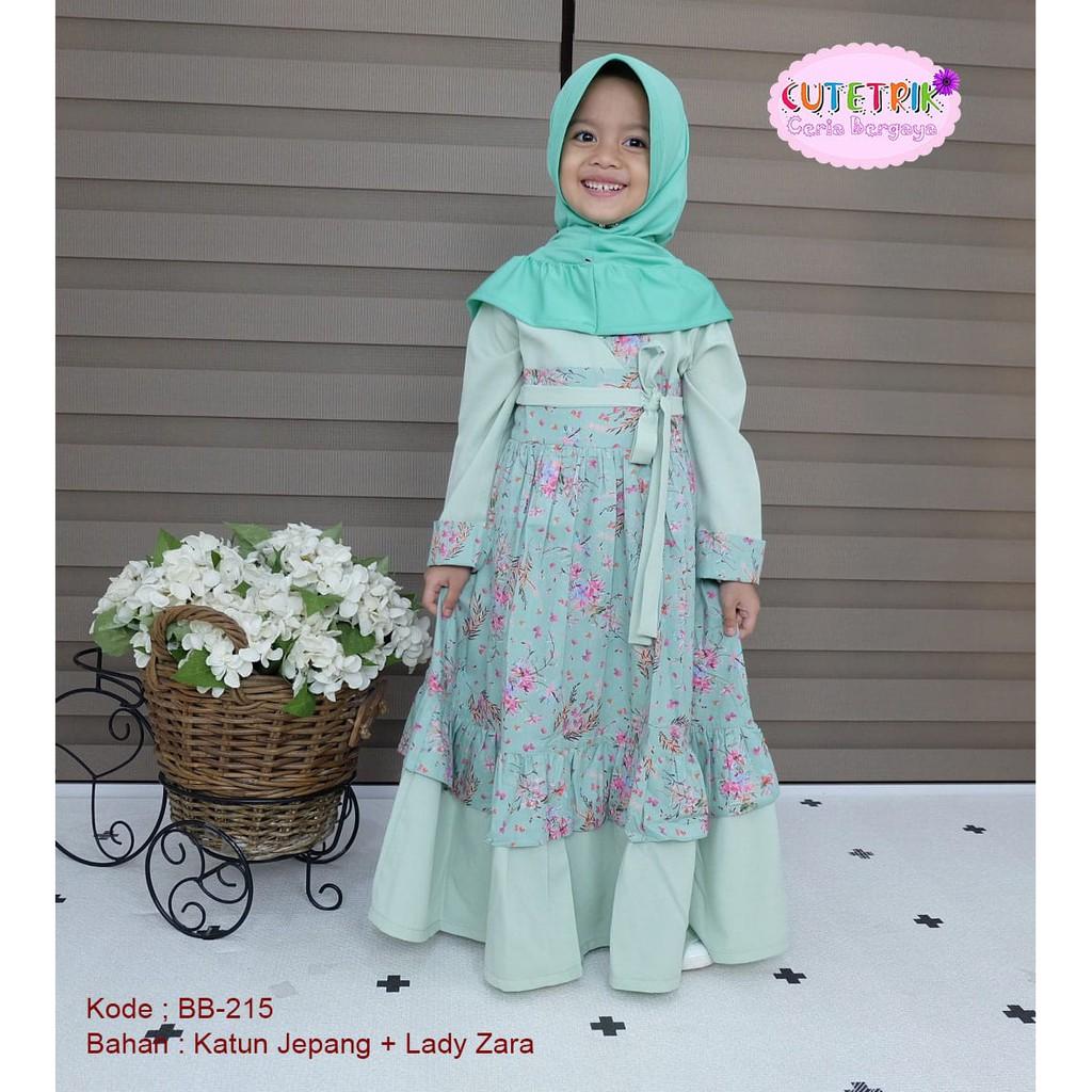 Gamis anak cutetrik model hanbok baju muslim anak syari cutetrik usia  10-10tahun -BB10