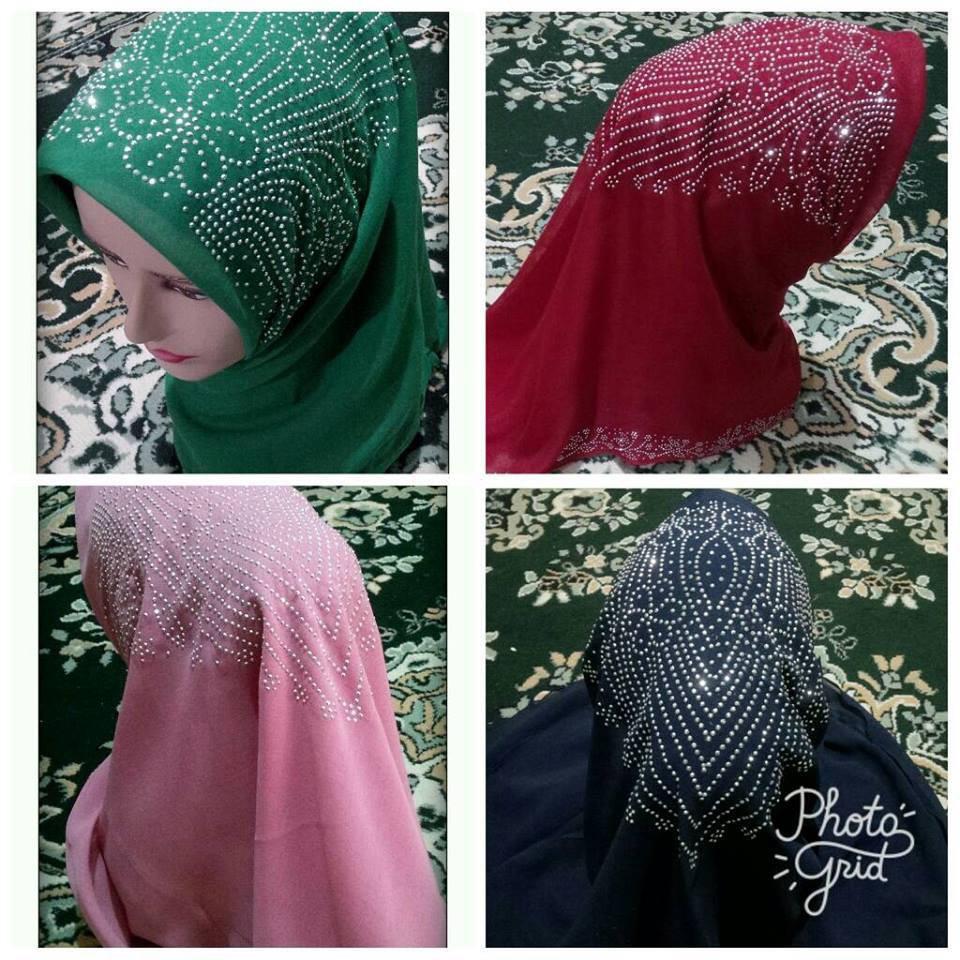 Hijab/Jilbab/Khimar segi empat motif payet 9