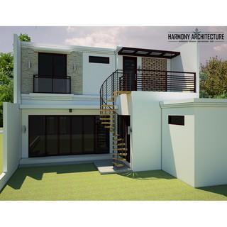 desain rumah etnik minimalis 2 lantai (lahan 9 x 30