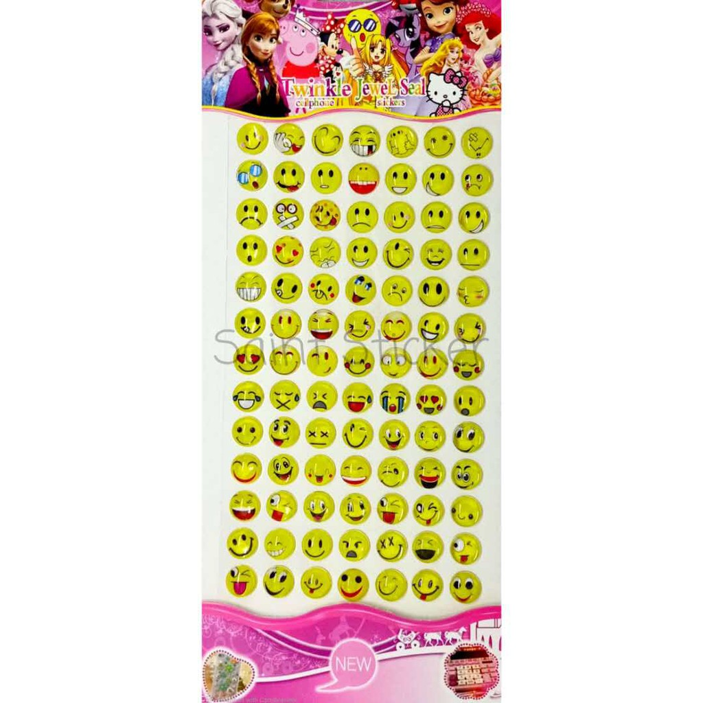 Gambar Tempel Jewel Sticker Stiker Timbul Anak Karakter Emoticon Smiley