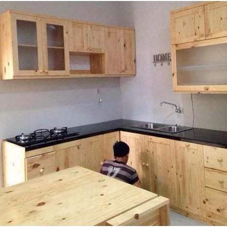 Kitchen Set Lemari Dapur Minimalis Vintage Kayu Solid Pinus Recycle