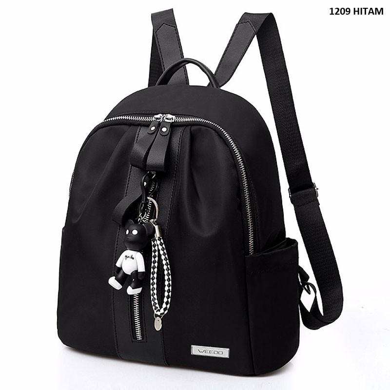 set 2 ransel backpack sekolah kuliah kantor kerja wanita hitam black murah  sale promo impor T84  d8cca1b4a0
