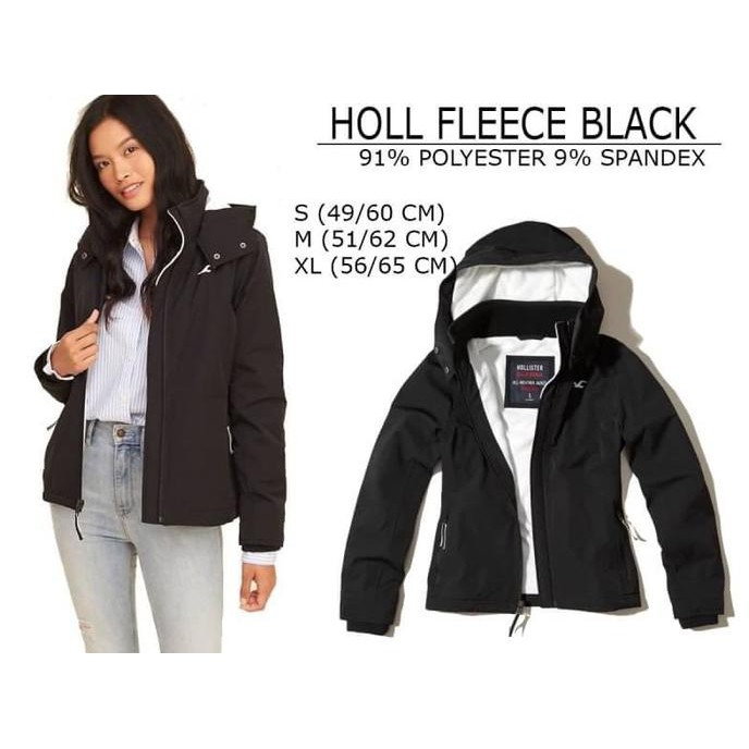 Jacket Wanita Hollister Fleece Black  c792b6b248