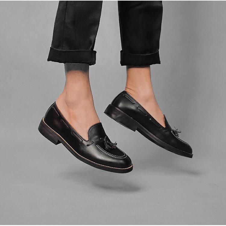 Sepatu Loafer Pria Adam Tassel Black | Shopee Indonesia
