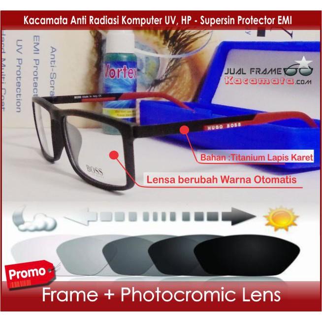 Frame Kacamata Minus - Lensa Photocromic Berubah Warna Otomatis Photogrey -  Bulat Hitam Pria Wanita  779f19a178