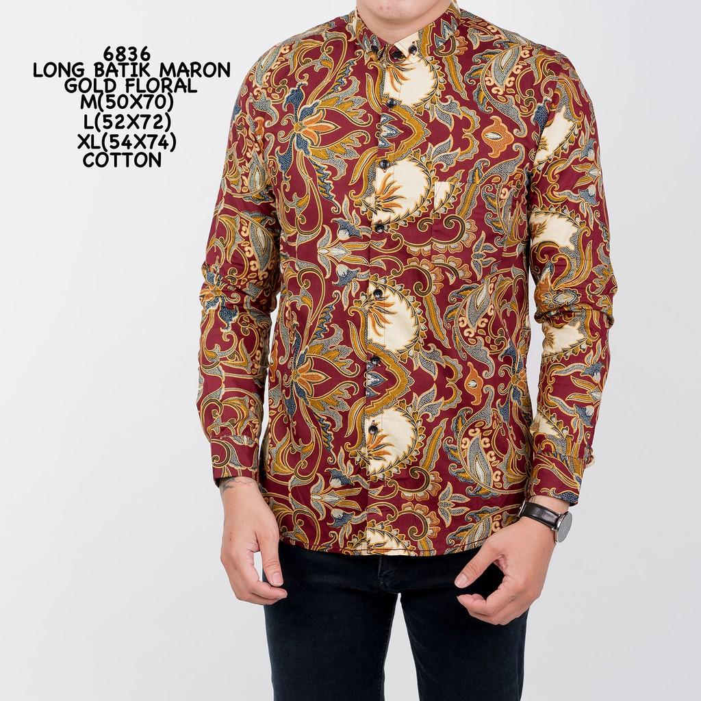 Kemeja Batik WAN 6705 Long Batik Black Gold Floral M-XL Kemeja Batik ... 52e5153268