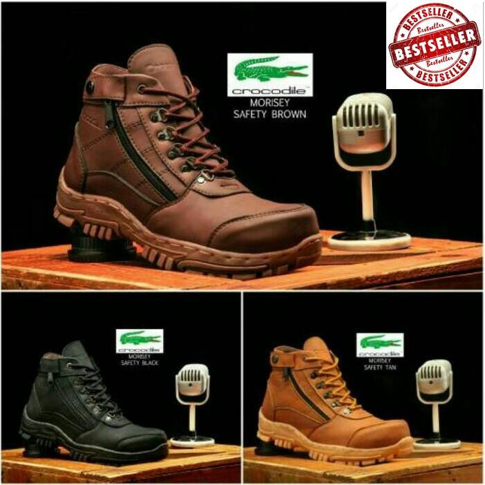 Sepatu Boots Pria Crocodile Morisey Safety   Ujung Besi TERMURAH ... a95eae4779