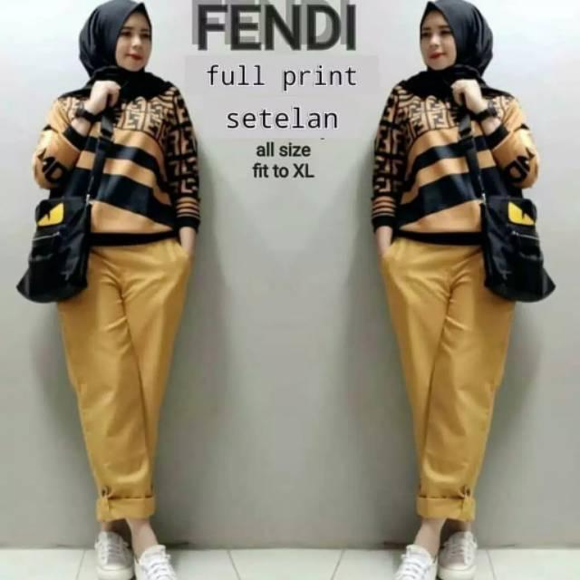 Setelan fendi atasan dan celana fashion casual wanita baju fendi kekinian | Shopee Indonesia