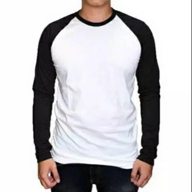 Kaos Polos Raglan Pria Wanita Masa Kini Kaos Raglan Lengan Panjang Warna Putih Hitam Bengkulu Store Shopee Indonesia