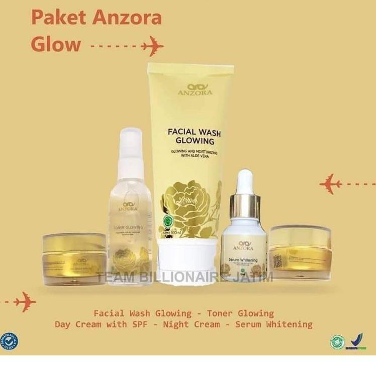 ANZORA SKINCARE GLOW / CREAM PEMUTIH WAJAH VIRAL BPOM AMAN / GLOWING MENGHILANGKAN FLEK / ORIGINAL (
