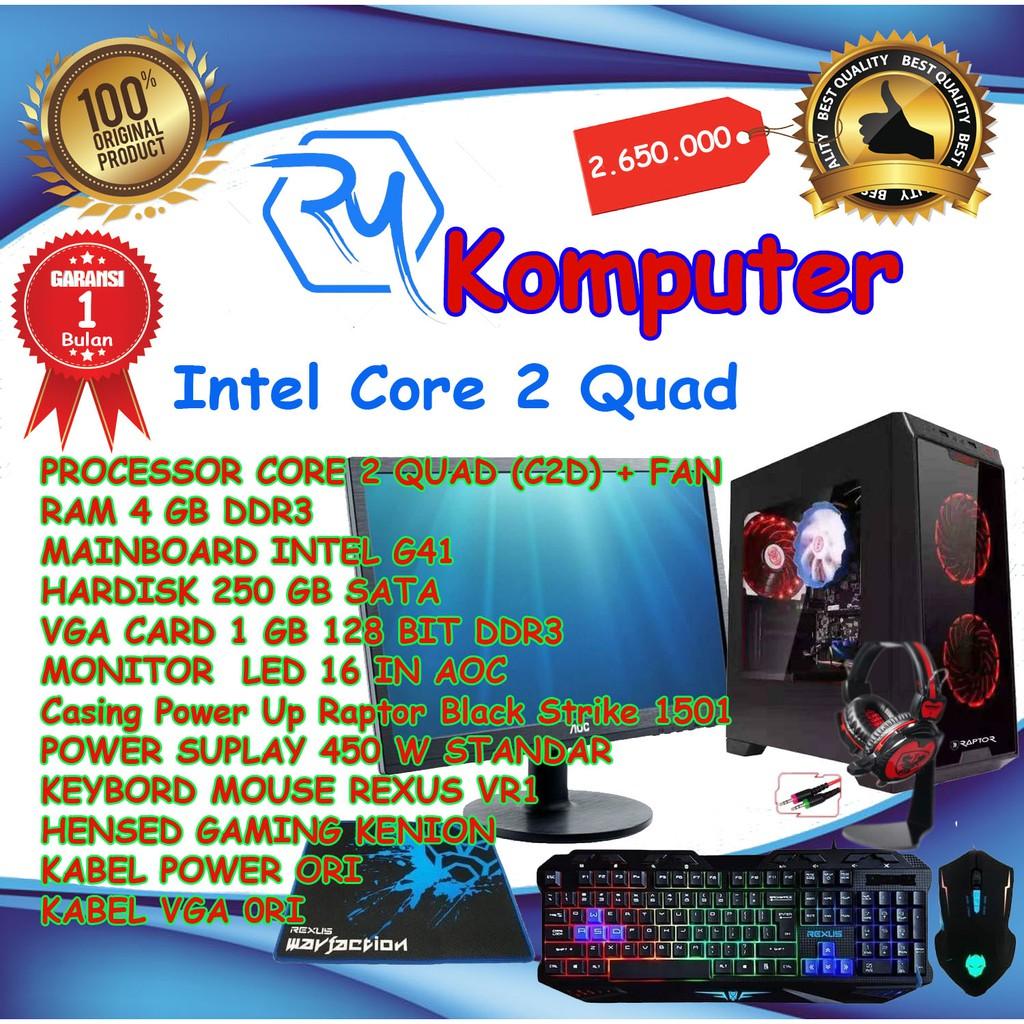 KOMPUTER-PC RAKITAN GAMING FULL SET CORE 2 QUAD RAM 4GB VGA CAR 1GB 128 BIT