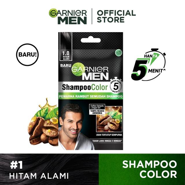 Garnier Men Shampoo Color (Pewarna Rambut Pria Semudah Shampoo)