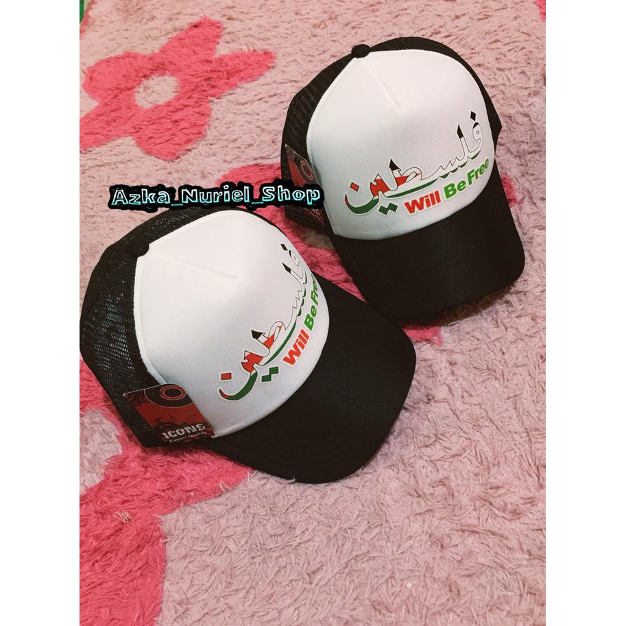 Topi Jaring Trucker Palestina   Topi Quote Palestine Premium   Shopee Indonesia
