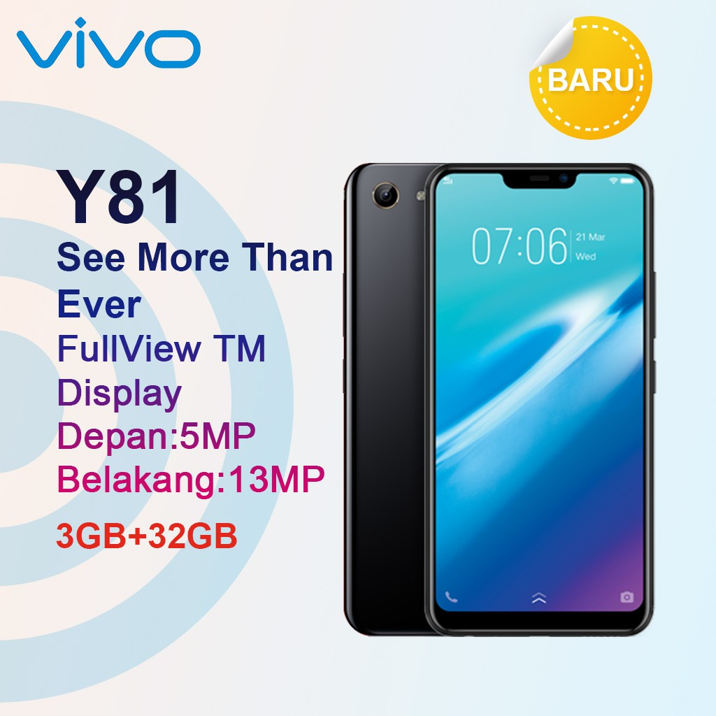 Vivo Y81 3gb 16gb Hitam Garansi Resmi Smartphone Black Shopee V5 Plus 64 Gb Edition 1 Tahun Indonesia