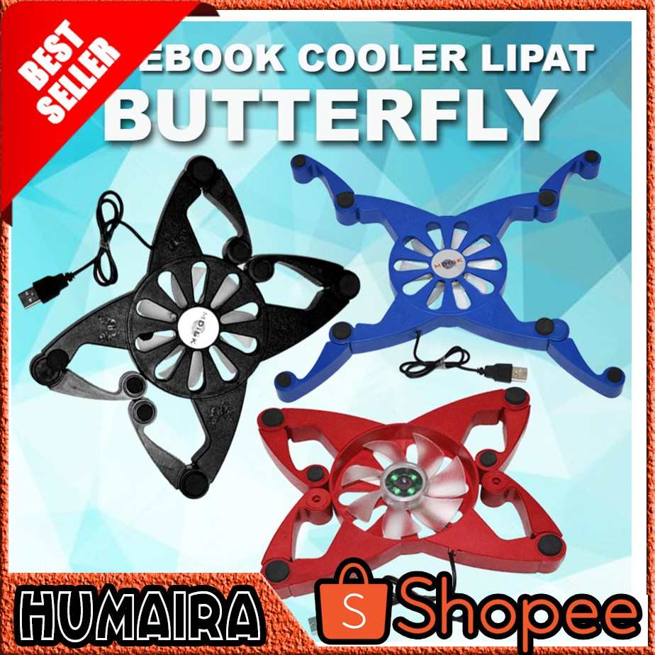 Cooling Pad Lipat Butterfly Shopee Indonesia Kepiting M Tech Mt919 Crab Coolingpad Flip Laptop