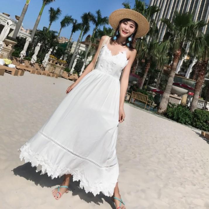 Women Beach Wear Casual White Dress Pantai Backless Spaghetti Strap