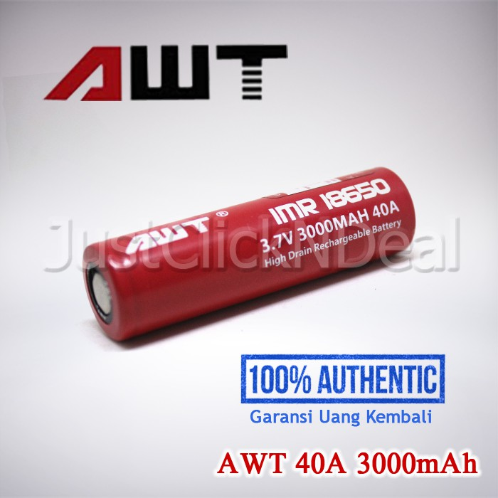 Authentic AWT 40A 3000mAh Baterai 18650 Vapor Vape Battery Ori Flat Top | Shopee Indonesia