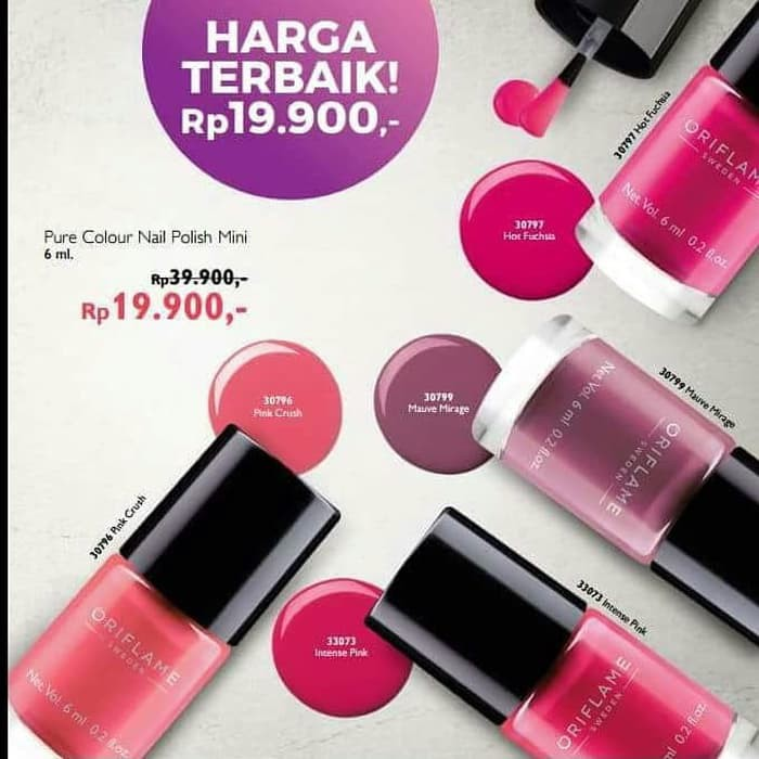 Oriflame Pure Colour Nail Polish Mini Kutek Kuku Shopee Indonesia