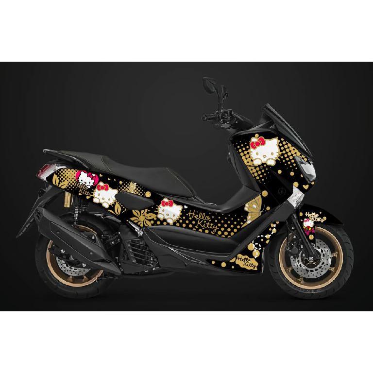 Decal Nmax Stiker Full Body Motor Yamaha N Max Hello Kitty - Hitam Gold