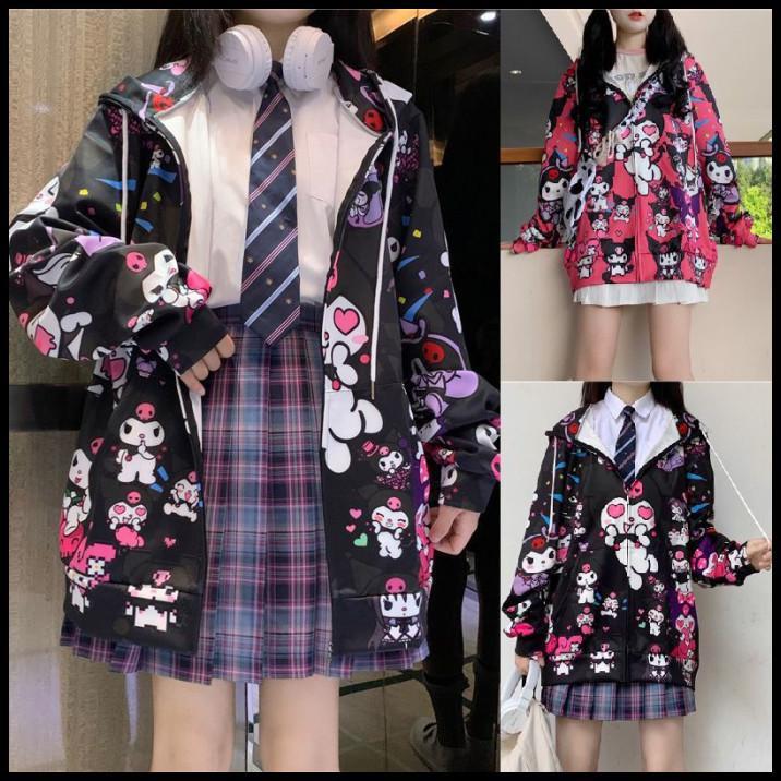 Japanese Kawaii Girl Kuromi Jacket Sweet Hoodie J Uniform Cardigan Harajuku Coat