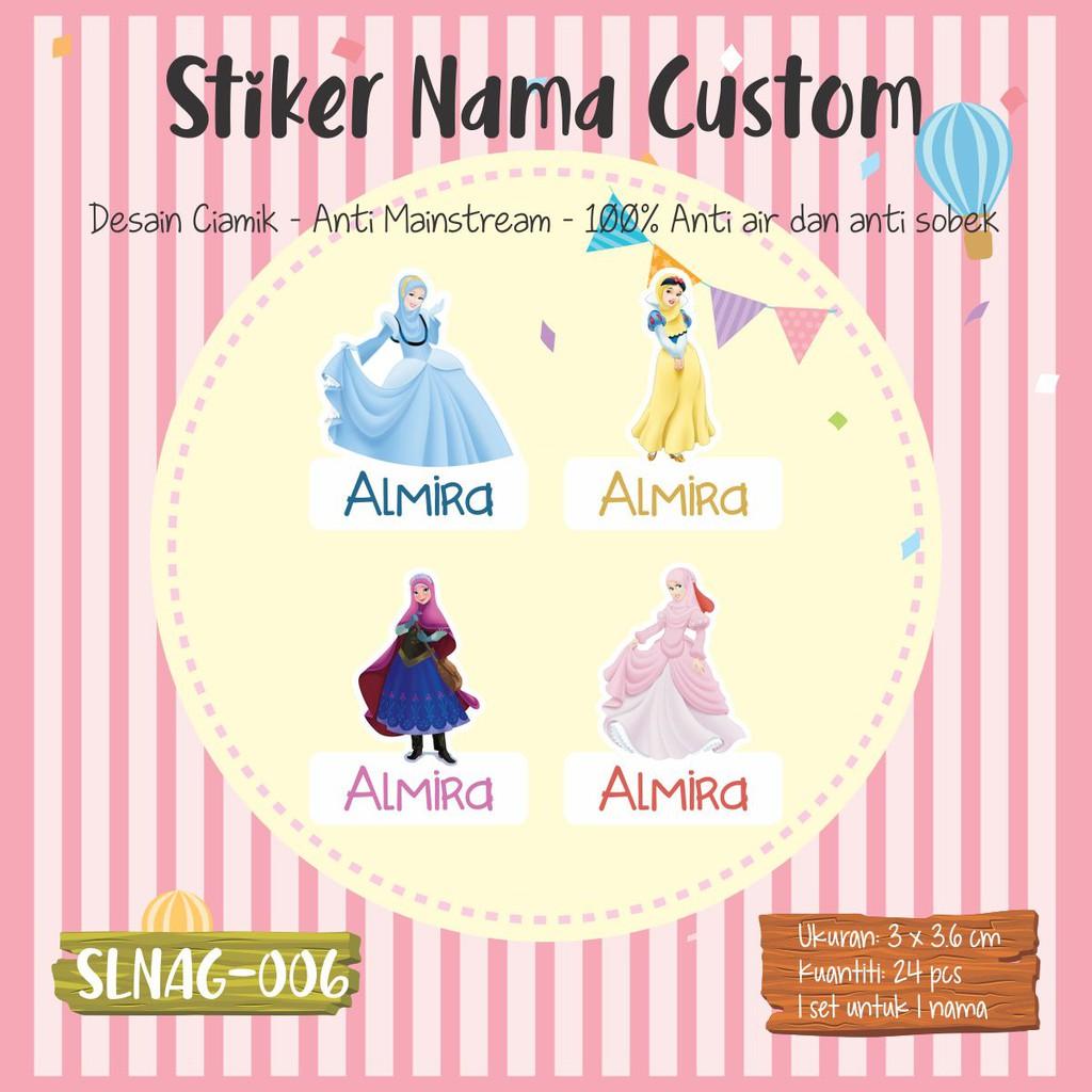 SLNAG 006 Sticker Label Nama Anak Kartun Cewek Girl Perempuan Puteri Hijab Princess Stiker Muslimah
