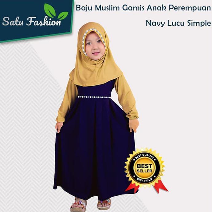 Cantik Ukhti Baju Muslim Gamis Anak Perempuan Warna Navy Cream Lucu Simple | Shopee Indonesia