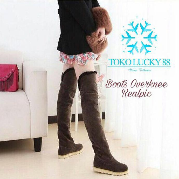 Sepatu Boots Panjang Selutut Winter Musim Dingin P82 Berkualitas