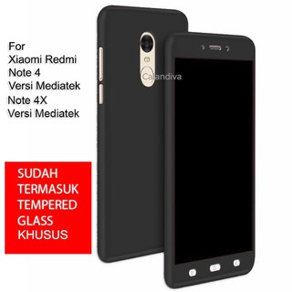 Calandiva Front Back 360 Degree Full Protection Case With TG for Xiaomi Redmi Note 4 / 4x Mediatek