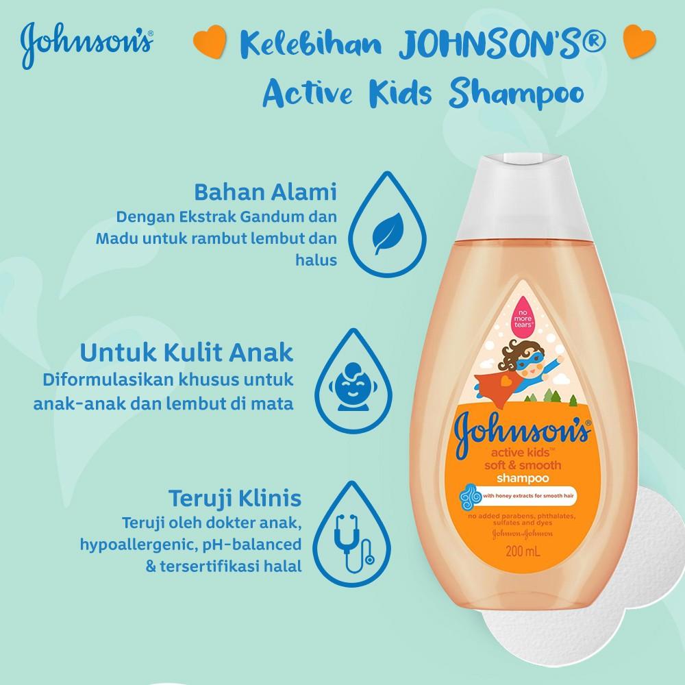 JOHNSON'S Active Kids Soft & Smooth Shampoo - Shampo Anak-anak 200ml-2