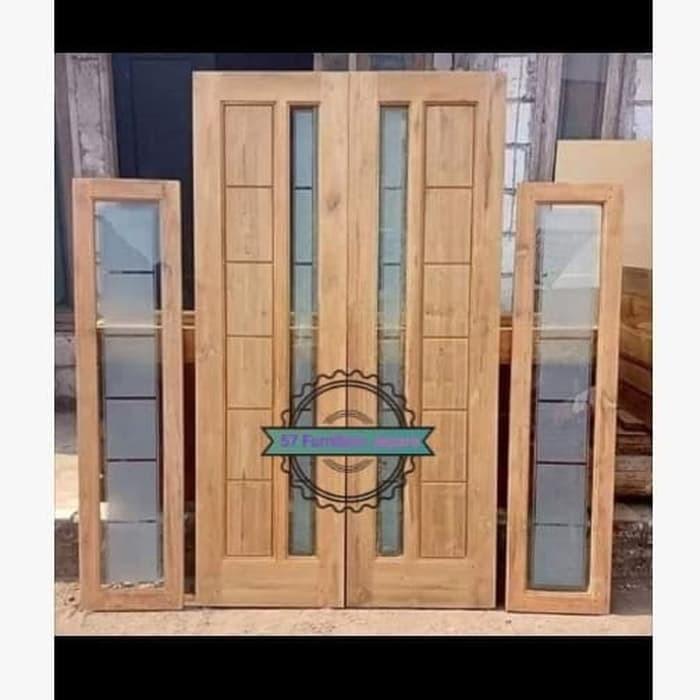 1 Set Paket Pintu Rumah Jendela Kaca Kusen Modern Kayu Jati Jepara Shopee Indonesia