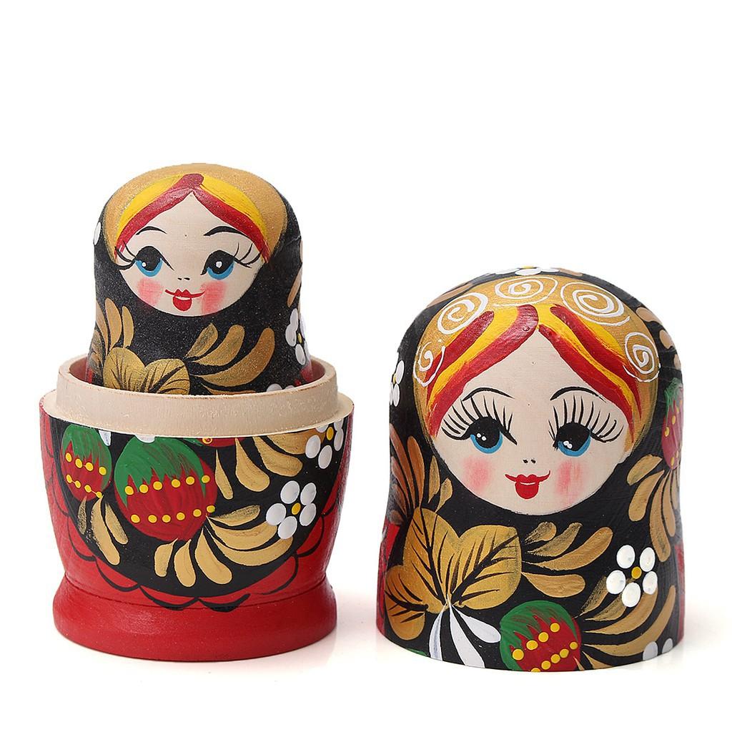 Russian Babushka Hand Painted Stacking Nesting Matryoshka Doll Orange 5 in 1