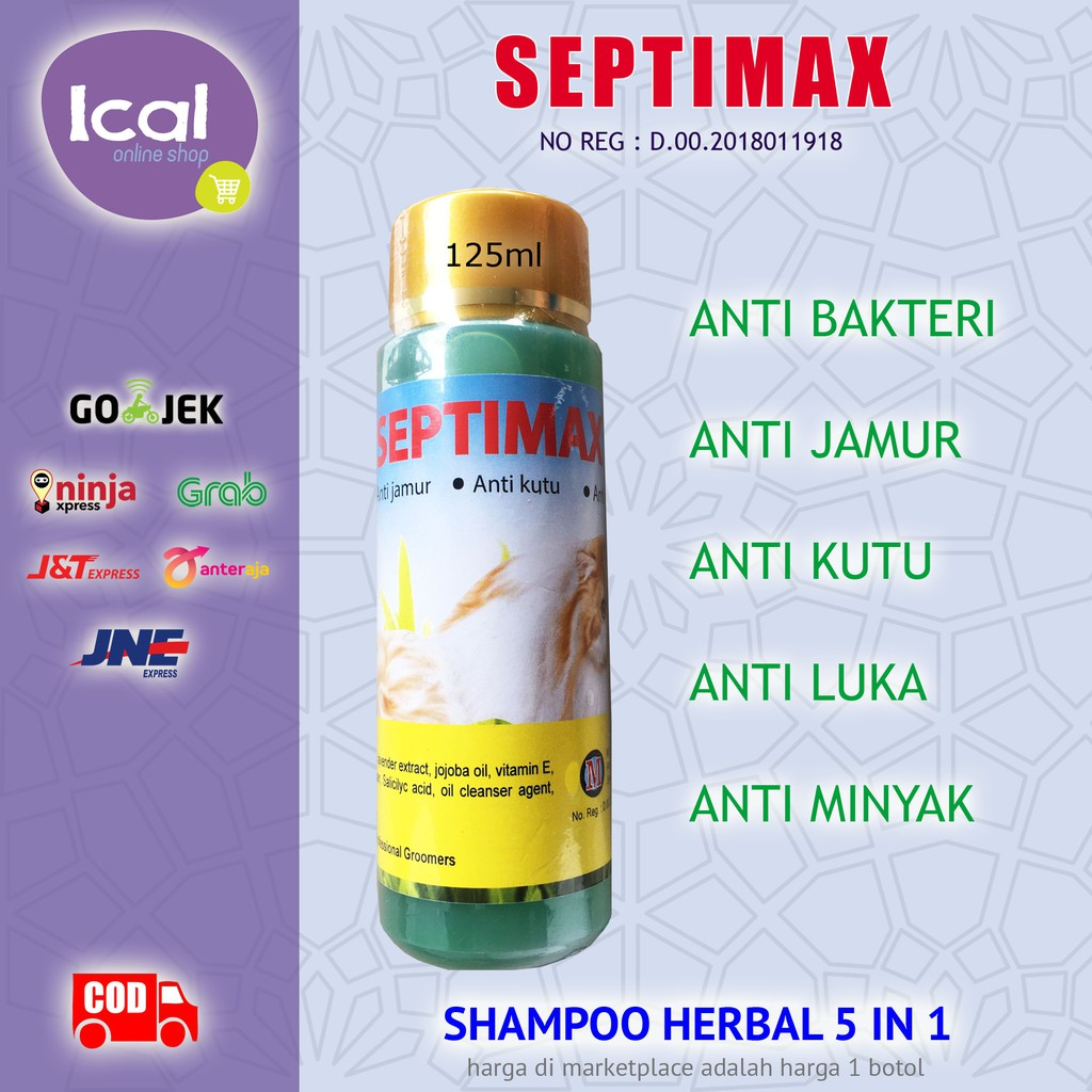 Sampo Kucing Septimax Shampoo Herbal 5 In 1 Anti Kutu Anti Lepek-2