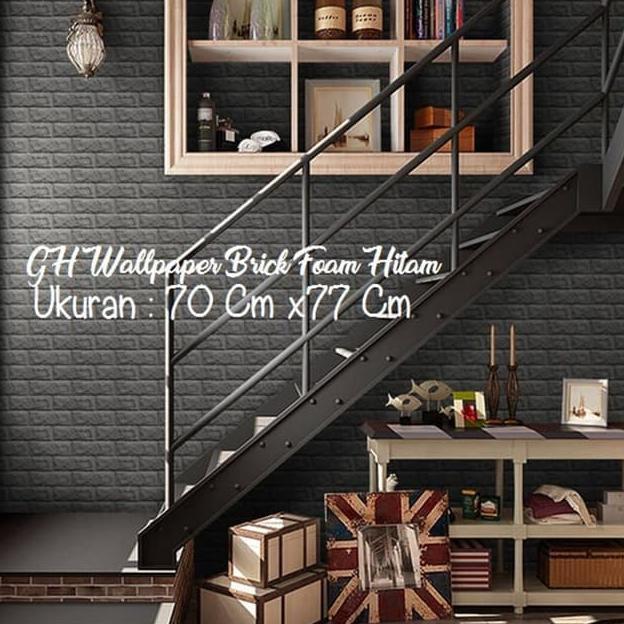 Lzn Wallpaper 3d Brick Foam Hitam Black Wallpaper Bata Jaman Now