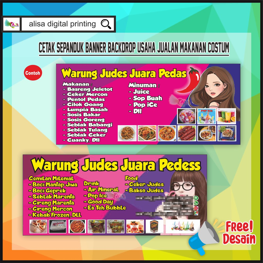 Baliho Spanduk Usaha Makanan Costum Shopee Indonesia