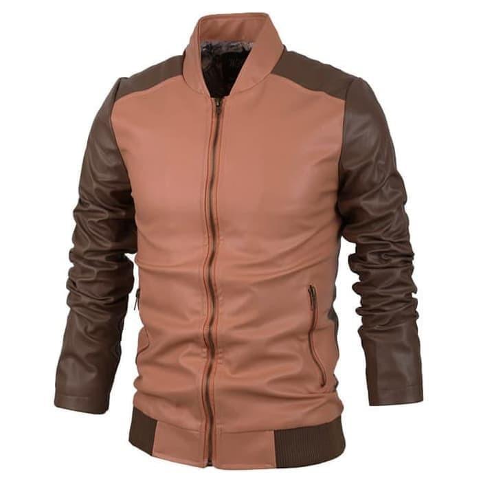 Jaket Semi Kulit Pria Slim Fit Leather Premium Mustang | Shopee Indonesia
