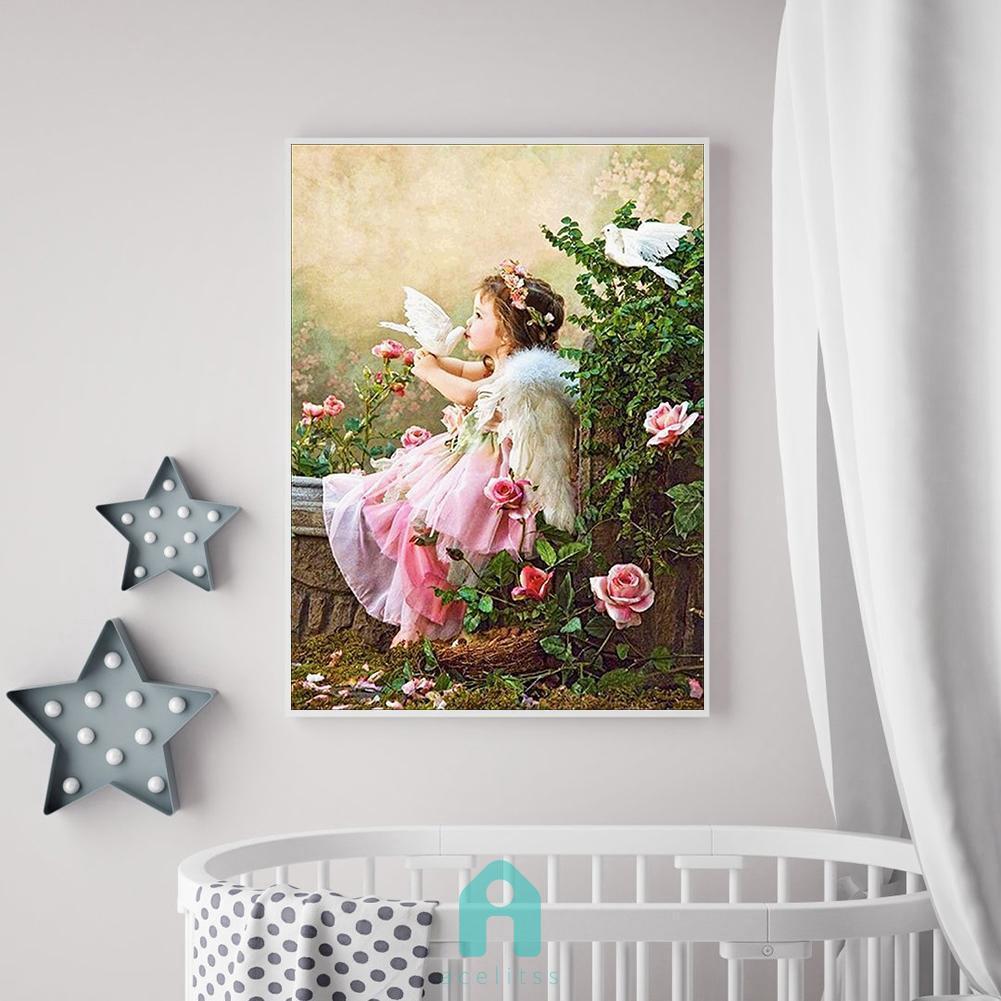 DIY Lukisan Diamond 5D Dengan Gambar Malaikat Lucu Dan Hiasan Berlian Buatan
