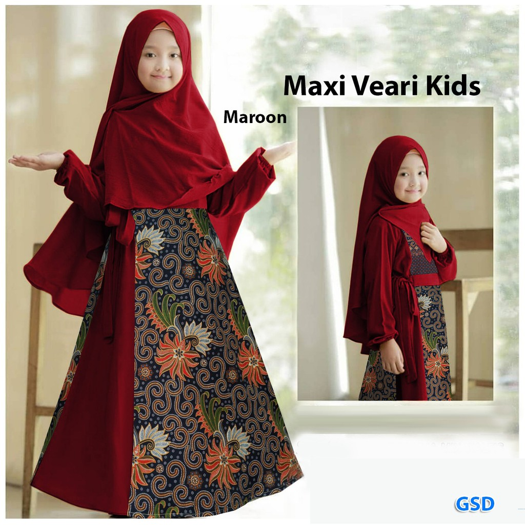 "Maxi muslim batik anak perempuan Terbaru / Busana pesta anak ""ALL SIZE FIT  10-10th LD 710"" / MAXI VEARI"